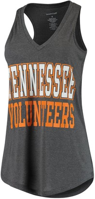 Women's Charcoal Tennessee Volunteers 2-Hit At Ease V-Neck Tank Top