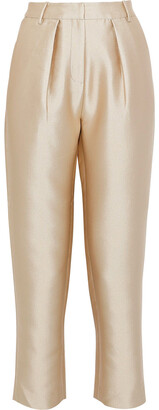 Co Cropped Satin-twill Tapered Pants