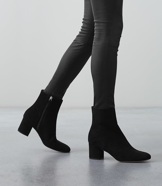 Reiss Delphine - Suede Block Heeled Ankle Boots in Black