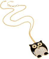 Amrita Singh Black Crystal Owl Pendant Necklace