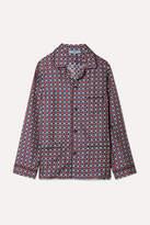 Prada Oversized Printed Silk-satin Twill Shirt - Blue