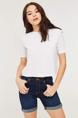 Ardene High Waist Cuffed Denim Bermuda