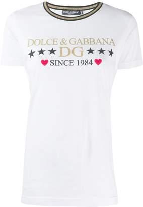 Dolce & Gabbana glitter logo print T-shirt