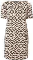 Dorothy Perkins Pink And Black Geometric Print Jacquard Shift Dress