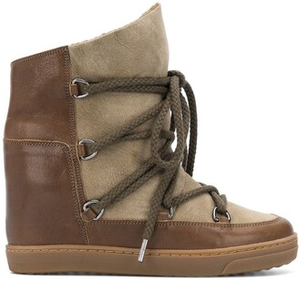 Isabel Marant Panelled Lace-Up Ankle Boots
