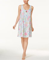 Miss Elaine Tucked-Front Floral-Print Nightgown
