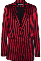 Ann Demeulemeester Striped Satin And Twill Blazer - Claret