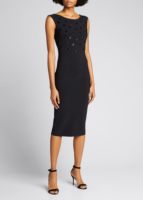 Chiara Boni Sequin Dot Sleeveless Sheath Dress