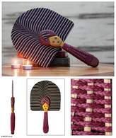 Patterned Cotton Fan, 'Obaasima'