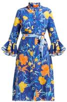 Beulah - Maia Floral-print Silk Dress - Womens - Navy Multi