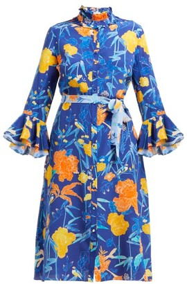 Beulah - Maia Floral-print Silk Dress - Womens - Navy Multi