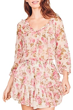 LoveShackFancy Silk Floral Print Popover Dress