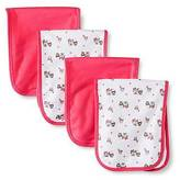 Gerber ; Girls' 4 pack Burp Cloth - Bear Print Coral One Size