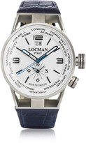 Locman Montecristo Blue Stainless Steel & Titanium Dual Time Men's Watch w/Leather Strap