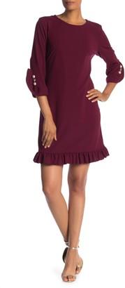 SL Fashions Long Sleeve Pearl Detail Ruffle Dress