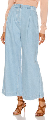 Loewe Drawstring Cropped Trousers in Light Blue | FWRD
