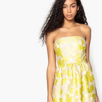 La Redoute Collections Floral Jacquard Bustier Dress with Front Waistband