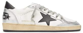 Golden Goose Ballstar Leather Low Top Trainers - Mens - Silver Multi