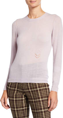 ADAM by Adam Lippes Lightweight Cashmere Floral-Embroidered Sweater