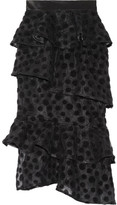 House of Holland Satin-trimmed Flocked Tulle Skirt - Black