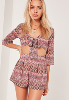 Missguided Zig Zag Shorts Pink