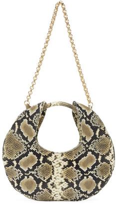 BY FAR Beige and Black Snake Lune Shoulder Bag