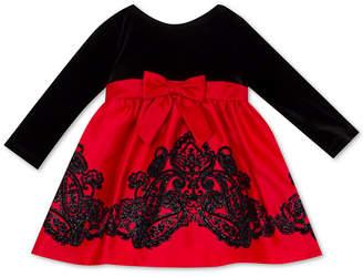 Rare Editions Baby Girls Velvet-Bodice Flocked-Skirt Dress