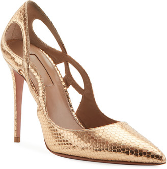Aquazzura Forever Metallic Snake-Print Pumps