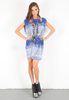T-Bags T Bags Crinkle Knit Dress with Necklace in Blue