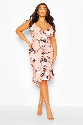 boohoo Plus Floral Ruffle Fishtail Midi Dress