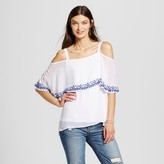 U-knit Women's Embroidered Woven Overlay Tank