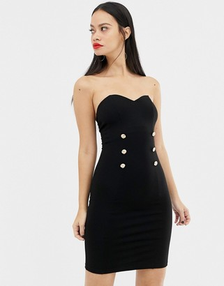 UNIQUE21 sweetheart neckline midi dress with button detail