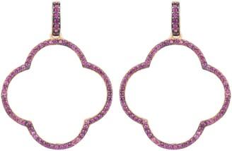 Latelita Open Clover Large Drop Earrings Rose Gold Ruby Pink Cz