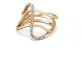 Paige Novick Three Row Curved Ring with Single Row Diamond Pave Detail in Yellow Gold
