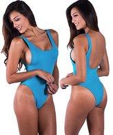 HOT Sale! WensLTD Sexy Women One Piece Monokini Swimsuit Swimwear Beachwear Push Up Bathing Suit (XL, Blue)