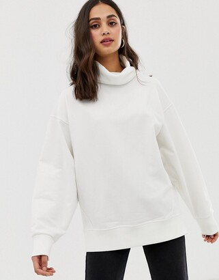 Asos Design DESIGN cozy high neck sweatshirt in winter white