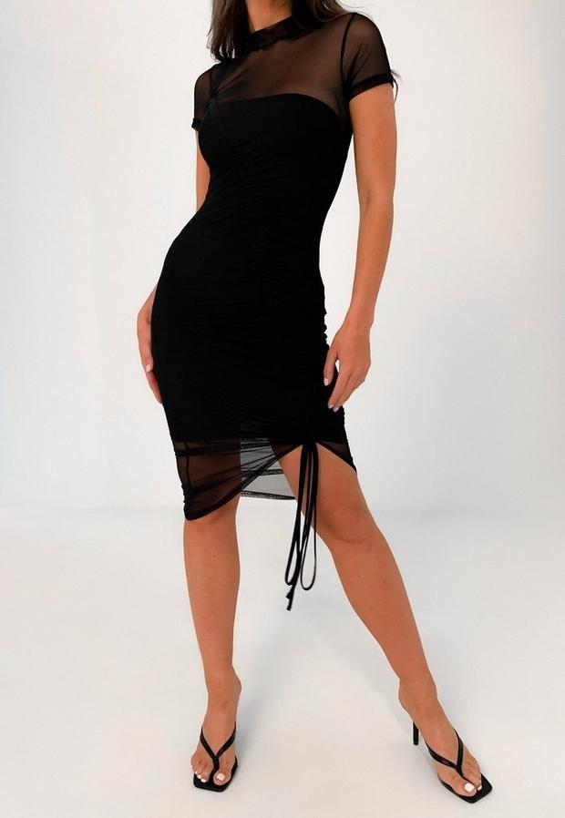 Missguided Black Mesh Ruched Short Sleeve Midi Dress