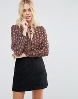 Goldie Still The One Printed Blouse With Neck Tie