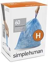 Simplehuman Code H Custom Fit Recycling Liners, Drawstring Trash Bags, 30-35 Liter / 8-9 Gallon, 3 Refill Packs (60 Count), Blue
