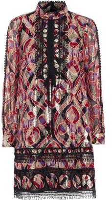 Anna Sui Guipure Lace-trimmed Metallic Printed Silk-blend Mini Dress