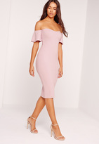 Missguided Bardot Bodycon Midi Dress Purple