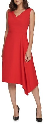 Donna Karan V-Neck Asymmetric Hem Dress