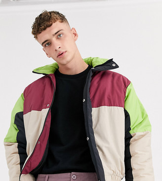 Reclaimed Vintage cut and sew puffer jacket in burgundy and black