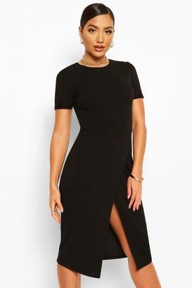 boohoo Short Sleeve Wrap Midi Dress
