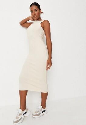 Missguided Cream Rib Wide Neck Midaxi Dress