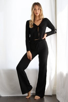 Nasty Gal Womens Say It Lounger Tie Cardigan and Wide-Leg Pants Set - Black