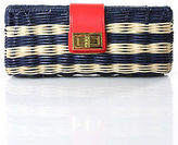 J.Crew J Crew Blue Ivory Red Leather Twist Lock Closure Small Basket Clutch