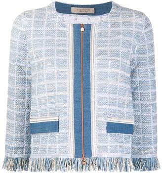 D-Exterior Zipped-Up Tweed Jacket