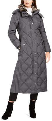 London Fog Petite Faux-Fur-Club-Collar Maxi Down Puffer Coat