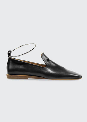 Jil Sander Leather Ankle Bracelet Flat Loafers